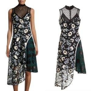 Self-Portrait Asymmetric Lace Print Combo Dress